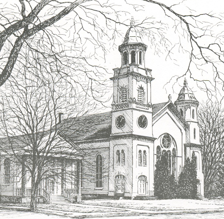 Belleville church, a white Gothic-style church; image is a black and white drawing